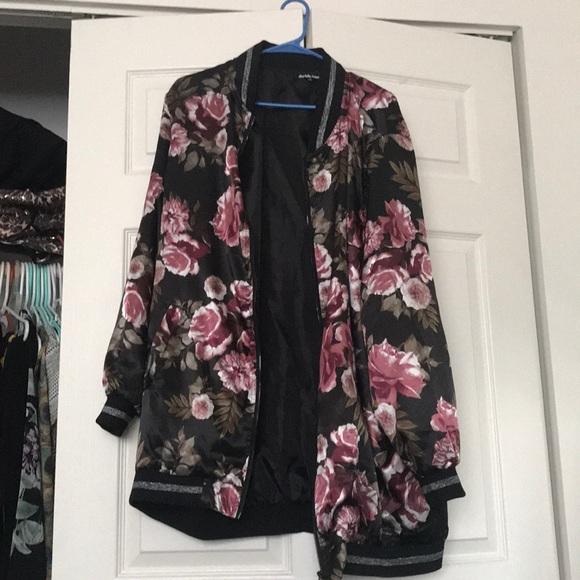 5519c7fcbfa Charlotte Russe Jackets   Blazers - Charlotte Russe Plus flower bomber  jacket